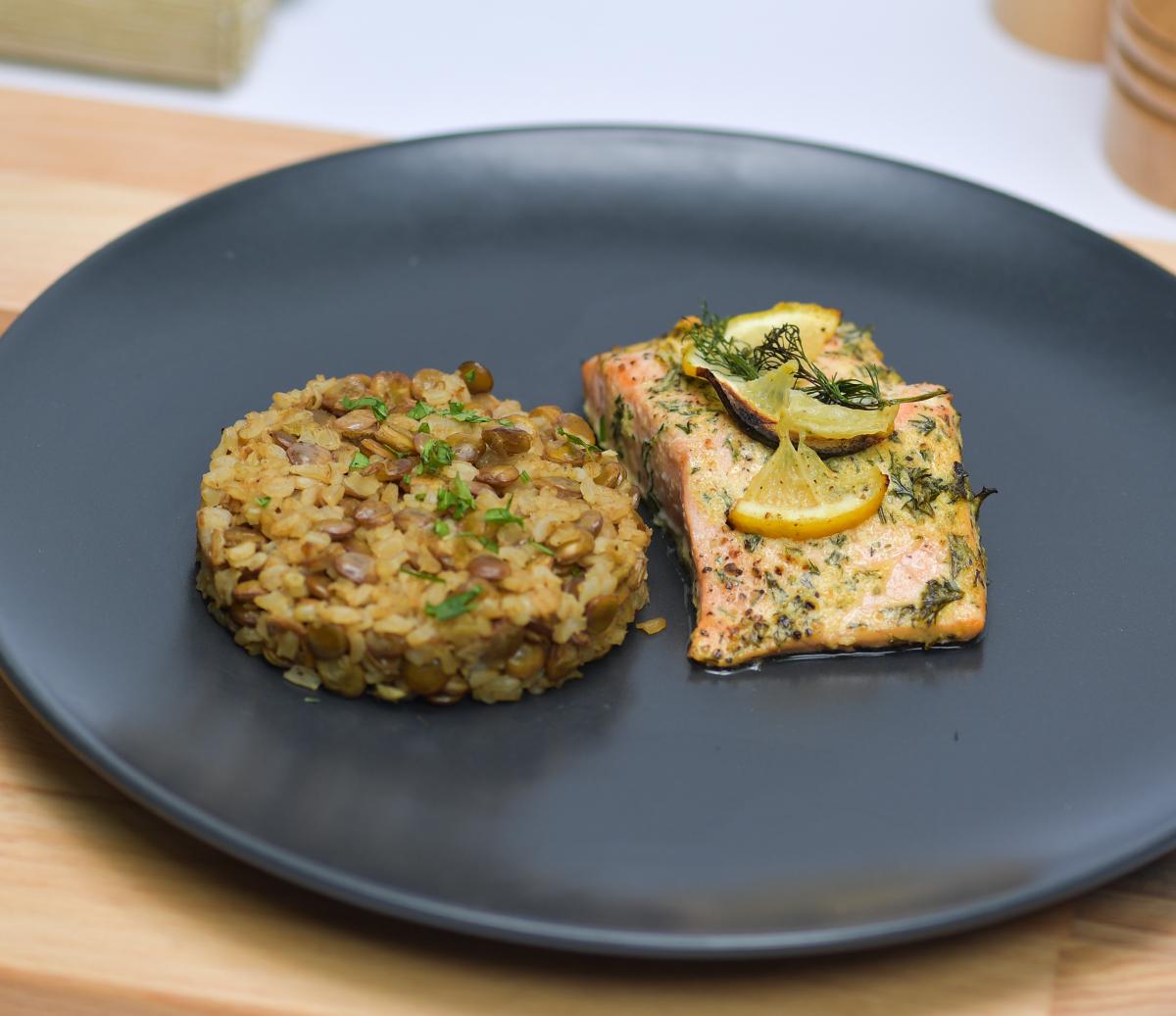 Dill-Salmon Lentil Rice