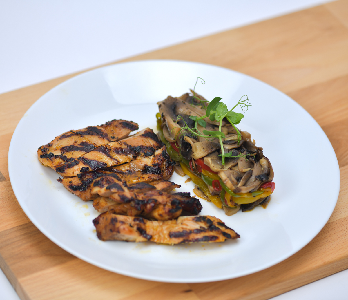Chicken Cajun with Roasted Mushroom and Bell pepper